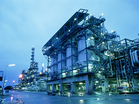 A close up of the Shell SMDS plant at Bintulu, Malaysia