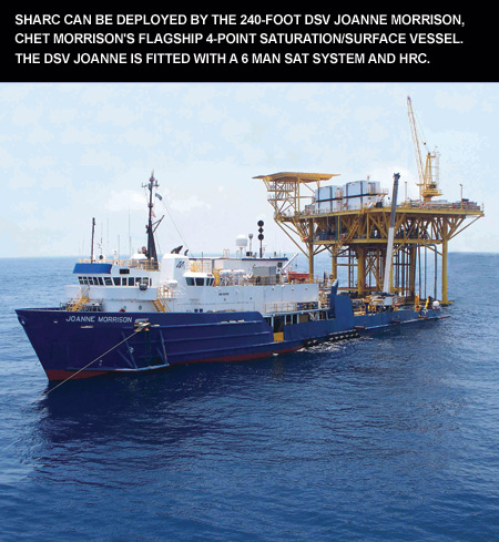 SHARC can be deployed by the 240-foot DSV Joanne Morrison, Chet Morrison's flagship 4-point saturation/surface vessel. The DSV Joanne is fitted with a 6 man Sat system and HRC.