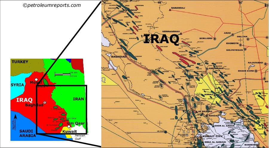 Oil And Gas Job Search In Middle East – Map of Iraqi Oil Fields