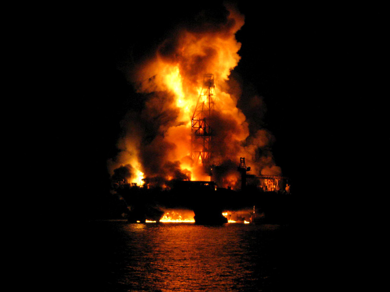 Deepwater Horizon Engulfed in Flames on April 21