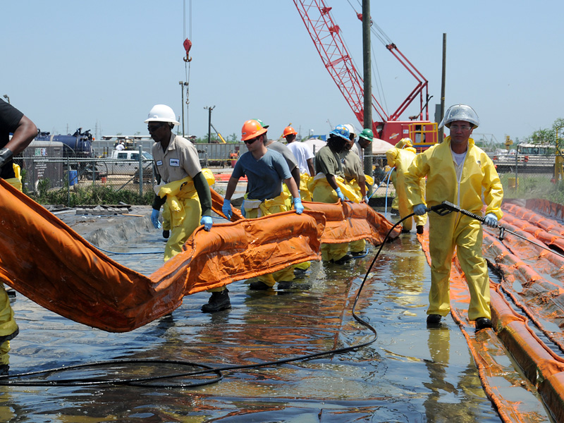 Workers at A Decontamination Site