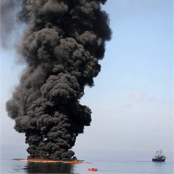 Oil burns during a controlled fire