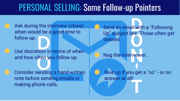Personal selling follow-up pointers