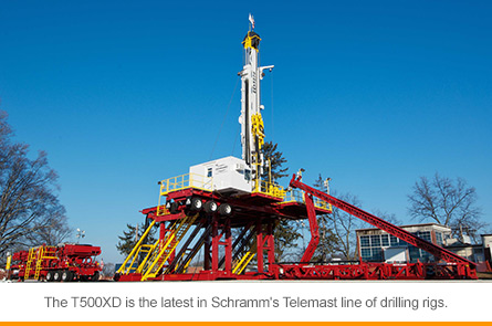 The T500XD is the latest in Schramm's Telemast line of drilling rigs.