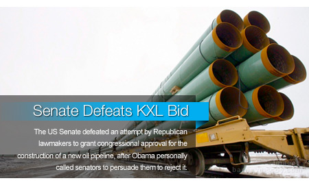 Senate Defeats Bid to Approve Keystone Pipeline Construction