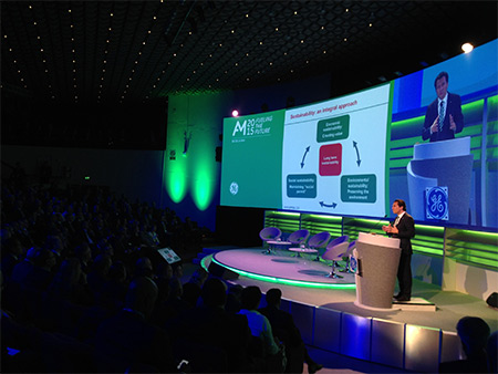 Pemex CEO Emilio Lozoya Austin speaks at GE Oil & Gas' annual meeting in Florence, Italy.