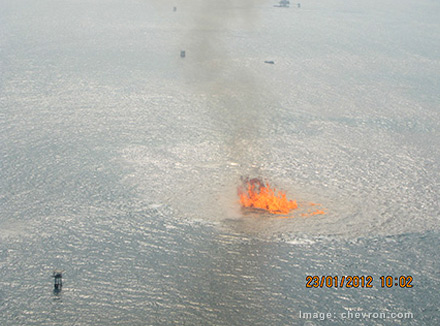 KS Endeavor fire at the Funiwa Field in Nigeria on Jan. 23, 2012