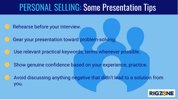 Presentation tips for personal selling in a job search