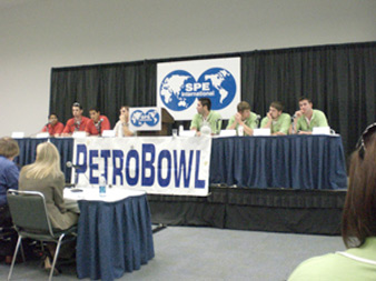 Student members of the Society of Petroleum Engineers compete in PetroBowl at the SPE's annual conference.