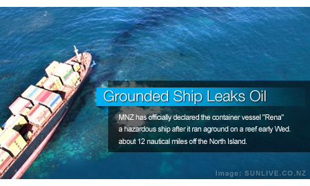 Grounded Ship Leaks Oil, Creates Slick Off New Zealand